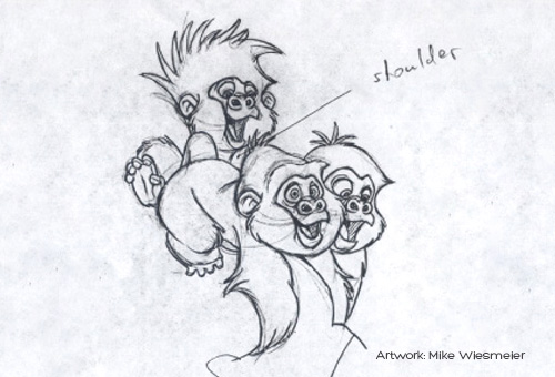 drawing of tarzan gorillas